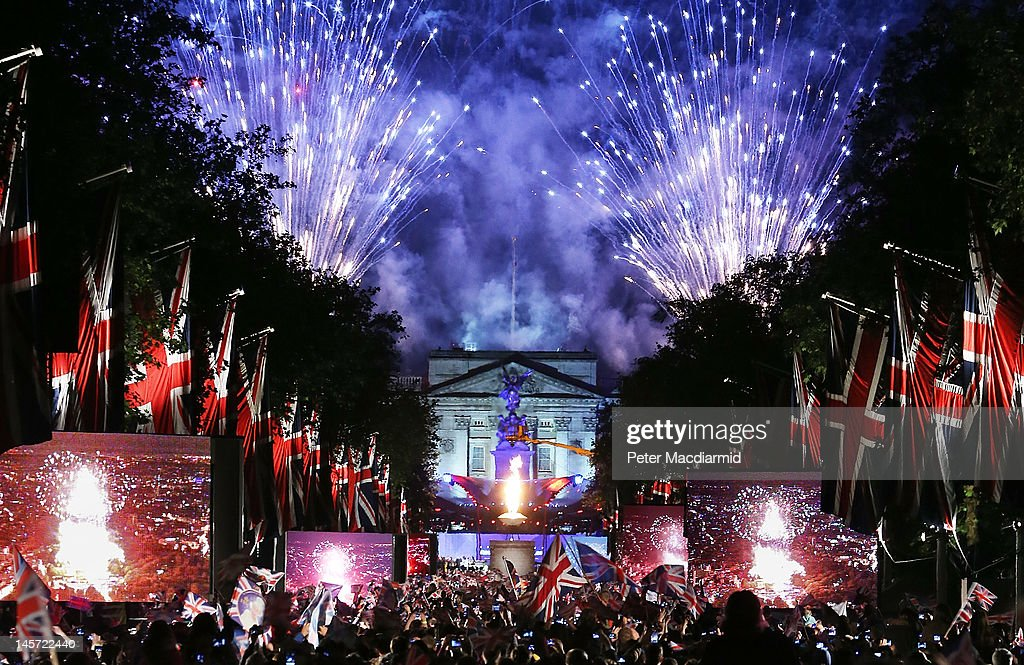Fireworks over Buckingham Palace mark the end of The Diamond Jubilee Concert from The Mall on June 4, 2012 in London, England. For only the second time in its history the UK celebrates the Diamond Jubilee of a monarch. Her Majesty Queen Elizabeth II celebrates the 60th anniversary of her ascension to the throne. Thousands of well-wishers from around the world have flocked to London to witness the spectacle of the weekend's celebrations.