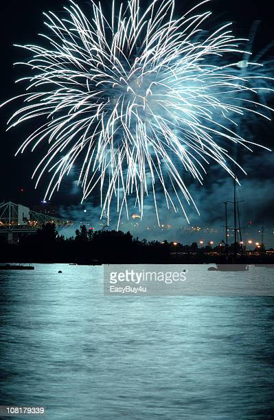 Fireworks Over Lake at Night