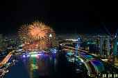 Fireworks over Marina Bay, Singapore