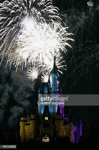 Fireworks over of Cinderella's Castle at Walt Disney World 25 January 2007 in Lake Buena Vista Florida Disney is celebrating a Year of a Million...