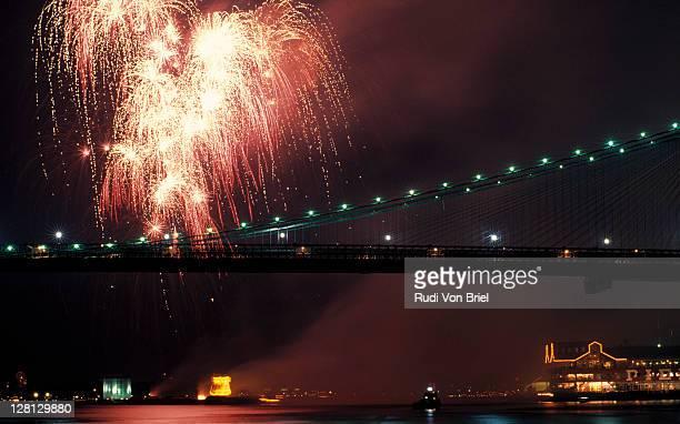 Fireworks over the Brooklyn Bridge, NYC, NY
