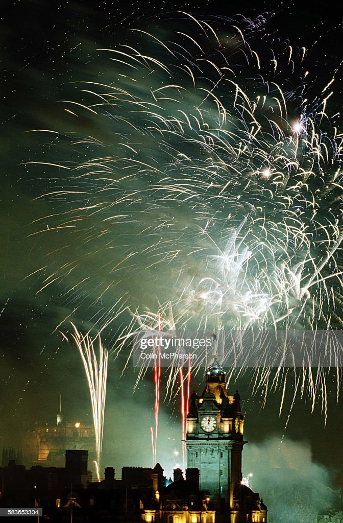 Fireworks over the clock tower at Balmoral just after the 12 strokes of midnight