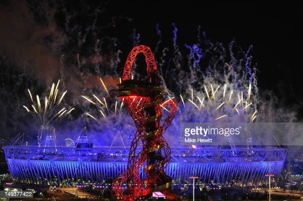 Fireworks over the Olympic Stadium during the Opening Ceremony at the Olympic Park on July 27 2012 in London England