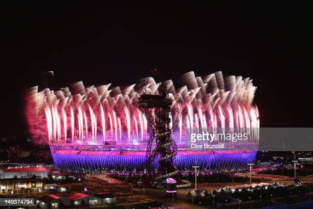 Fireworks over the Olympic Stadium during the Opening Ceremony of the London 2012 Olympic Games near Olympic Park on July 27 2012 in London England