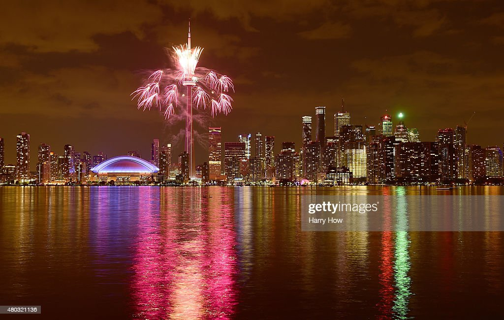 Fireworks over the Toronto skyline during opening ceremony for the 2015 Pan American Games on July 10 2015 in Toronto Canada