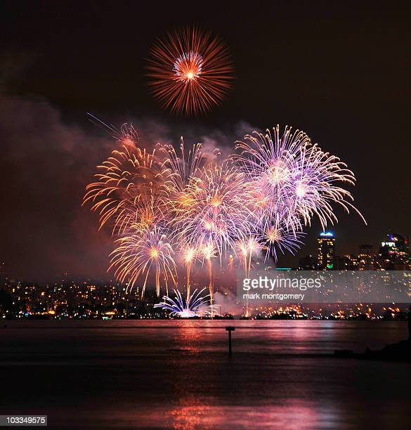 Fireworks over water in front of city skyline
