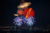 Fireworks /Tokyo bay in japan