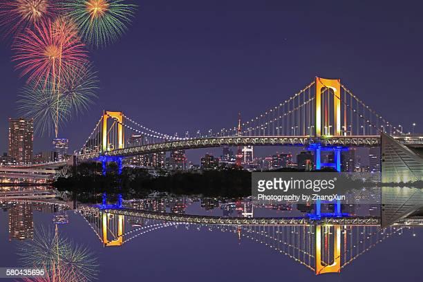 Fireworks reflection at Tokyo Bay at night
