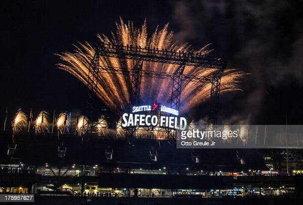 Fireworks shoot from behind leftcenter field as part of ceremonies inducting Ken Griffey Jr into the Seattle Mariners' Hall of Fame following the...