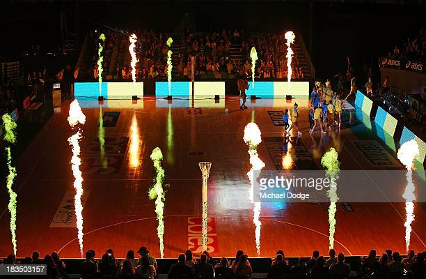 Fireworks shoot up as the Diamonds walk on to the court during the Constellation Cup match between the Australian Diamonds and the New Zealand Silver...