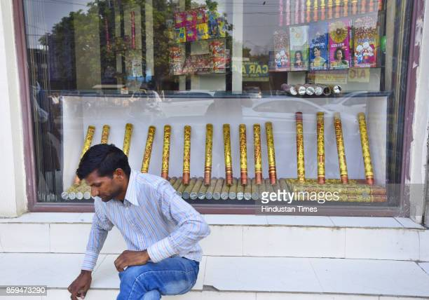 Fireworks shops at Sheetla Mata Mandir Road on October 9 2017 in Gurgaon India In an effort to check alarming pollution level the Supreme Court has...