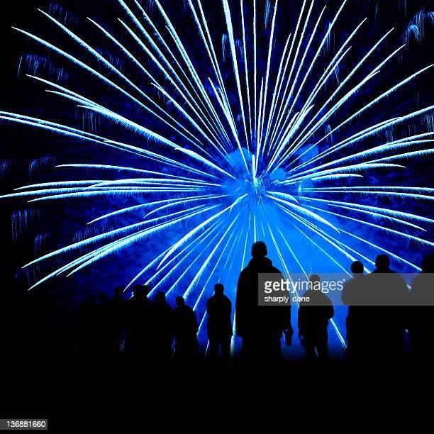 XL fireworks show silhouette