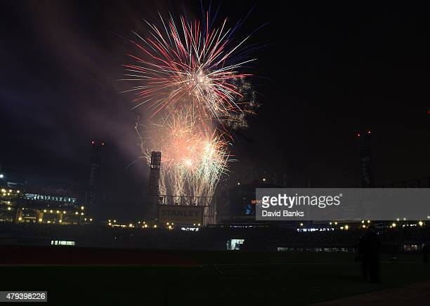 Fireworks to celebrate the fourth of July explode after the game between the Chicago White Sox and the Baltimore Orioles on July 3 2015 at U S...