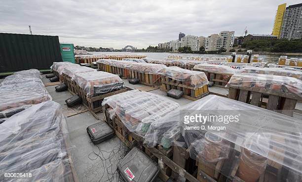 Fireworks under protective film sit on barges on December 29 2016 in Sydney Australia Sydney's New Year's Eve fireworks displays include seven tonnes...