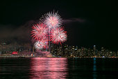 Fireworks with Vancouver City Centre in the background on Canada Day 2016