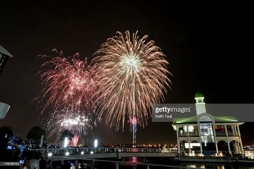 Fireworks wrap up the 32nd Yokohama port festival on June 9 2013 in Yokohama Japan This year the port marks its 32nd anniversary of the Port Festival...