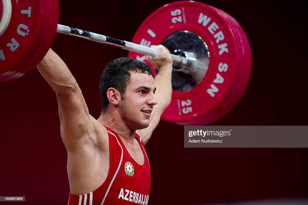 Firidun Guliyev from Azerbaijan lifts in the Snatch competition in men's 69 kg Group A during weightlifting IWF World Championships Wroclaw 2013 at Centennial Hall in Wroclaw on October 23, 2013