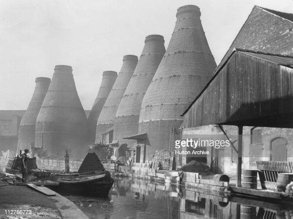 Firing kilns alongside the canal at StokeonTrent November 1948 It has been the capital of the Potteries since 1910 when the towns of Stoke Hanley...