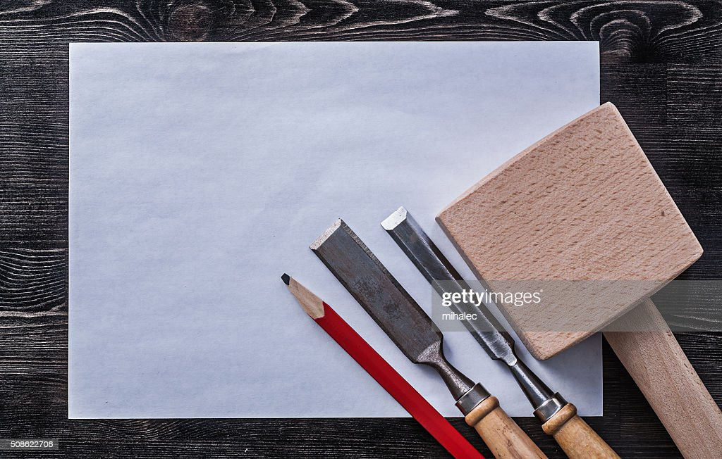 Firmer chisels wooden mallet pencil clean paper construction con : Stock Photo