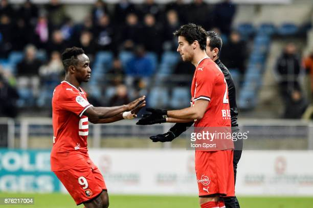 Firmin Mubele and Yoann Gourcuff of Rennes during the Ligue 1 match between Strasbourg and Rennes at Stade de la Meinau on November 18 2017 in...