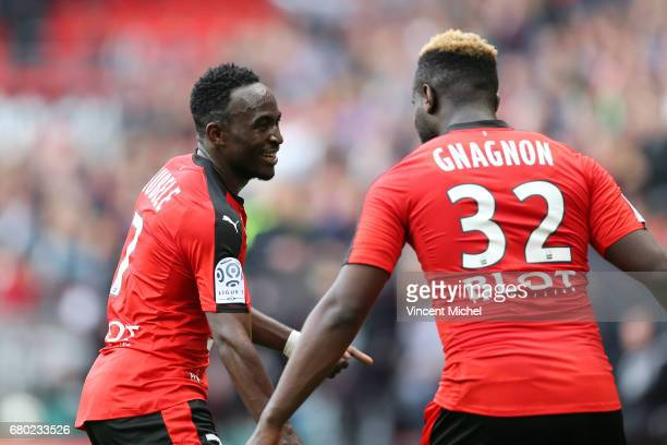 Firmin Mubele of Rennes celebrates with Joris Gnagnon after scoring the first goal during the Ligue 1 match between Stade Rennais and Montpellier...