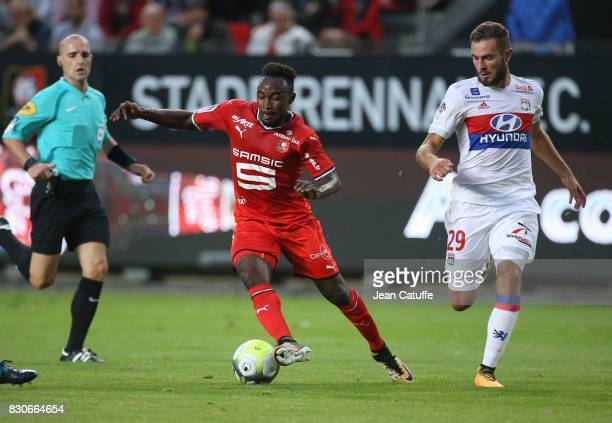 Firmin Mubele of Stade Rennais and Lucas Tousart of Lyon during the French Ligue 1 match between Stade Rennais and Olympique Lyonnais at Roazhon Park...