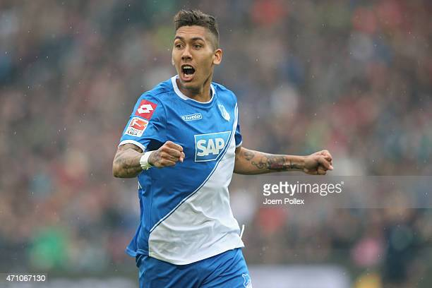 Firmino of Hoffenheim celebrates after his team mate Anthony Modeste scored his team's first goal during the Bundesliga match between Hannover 96 and...