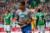 Firmino of Hoffenheim celebrates after scoring his team's first goal during the Bundesliga match between Werder Bremen and 1899 Hoffenheim at...