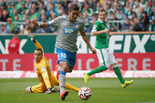 Firmino of Hoffenheim scores his team's first goal during the Bundesliga match between Werder Bremen and 1899 Hoffenheim at Weserstadion on August 30...