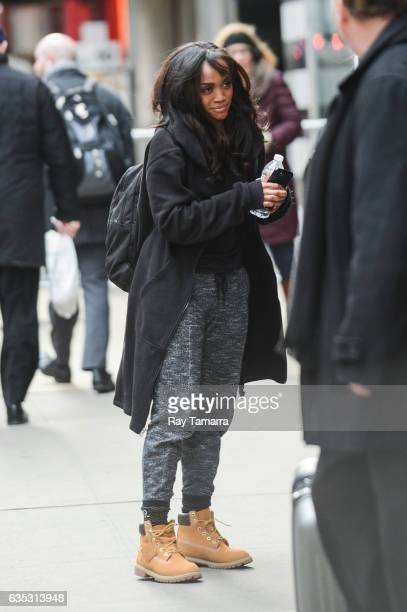 First African American 'Bachelorette' Rachel Lindsay leaves the 'Good Morning America' taping at the ABC Times Square Studios on February 14 2017 in...