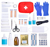 First aid kit objects isolated on white background