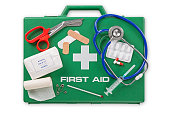 A First Aid kit isolated on white background with clipping path.