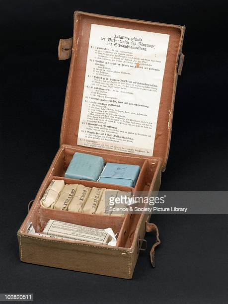 First aid kit used by pilots in the First World War Germany c1914 Field medical pannier for use of aviators canvas reinfored with leather and metal...