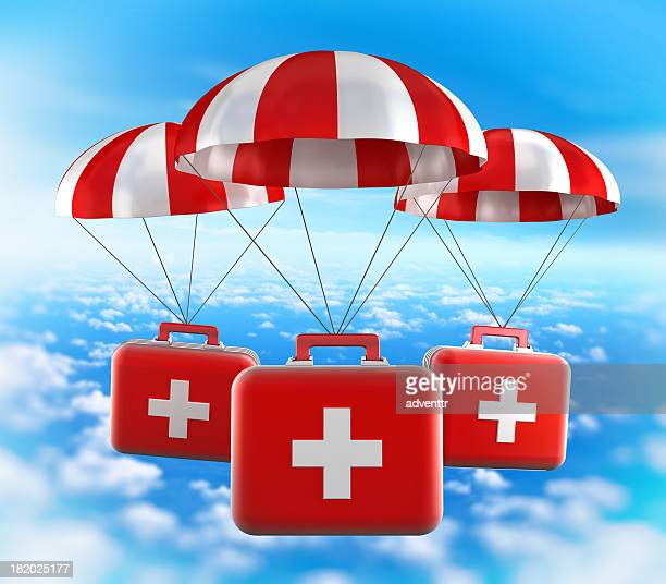 First aid kits falling from the sky