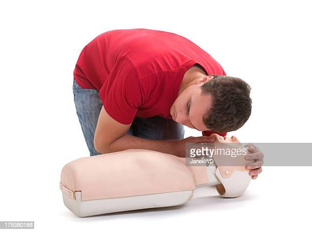 First aid - man checking breathing cpr