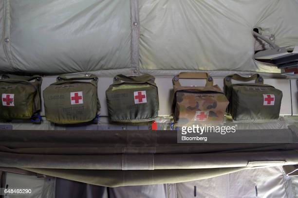 First aid packs hang inside an Australian Defence Force C130J Super Hercules turboprop military transport aircraft manufactured by Lockheed Martin...
