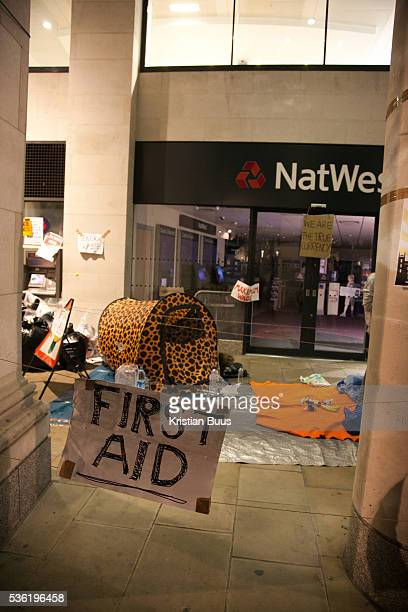 A first aid tent set up by protestors on one side of the square outside Natwest Bank The London Stock Exchange was attempted occypied in solidarity...