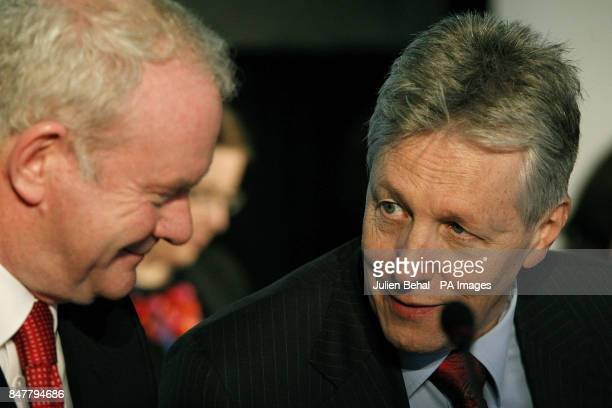 First and Deputy First Ministers for Northern Ireland Martin McGuinness and Peter Robinson at the conference on peacebuilding using Northern Ireland...