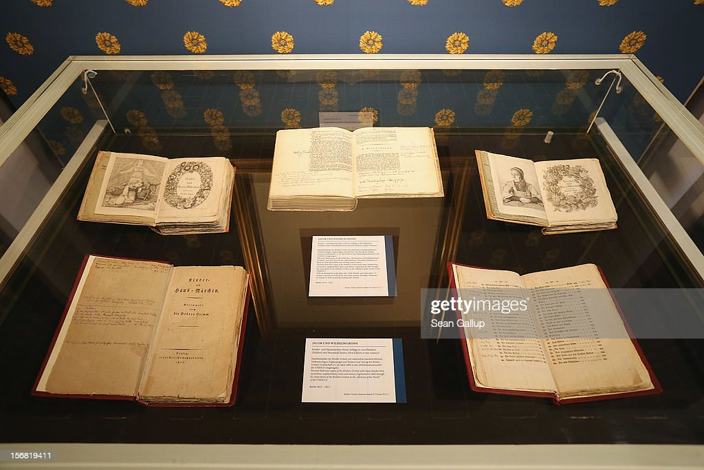 First and second-edition books of Grimms' Fairy Tales lie in a display at the Grimm Brothers Museum on November 20, 2012 in Kassel, Germany.The 200th anniversary of the first publication of the stories, which the brothers collected from oral traditions in the region between Frankfurt and Bremen in the early 19th century and include such global classics as Sleeping Beauty, Little Red Riding Hood, Rapunzel, Cinderella and Hansel and Gretel, will take place this coming December 20th.