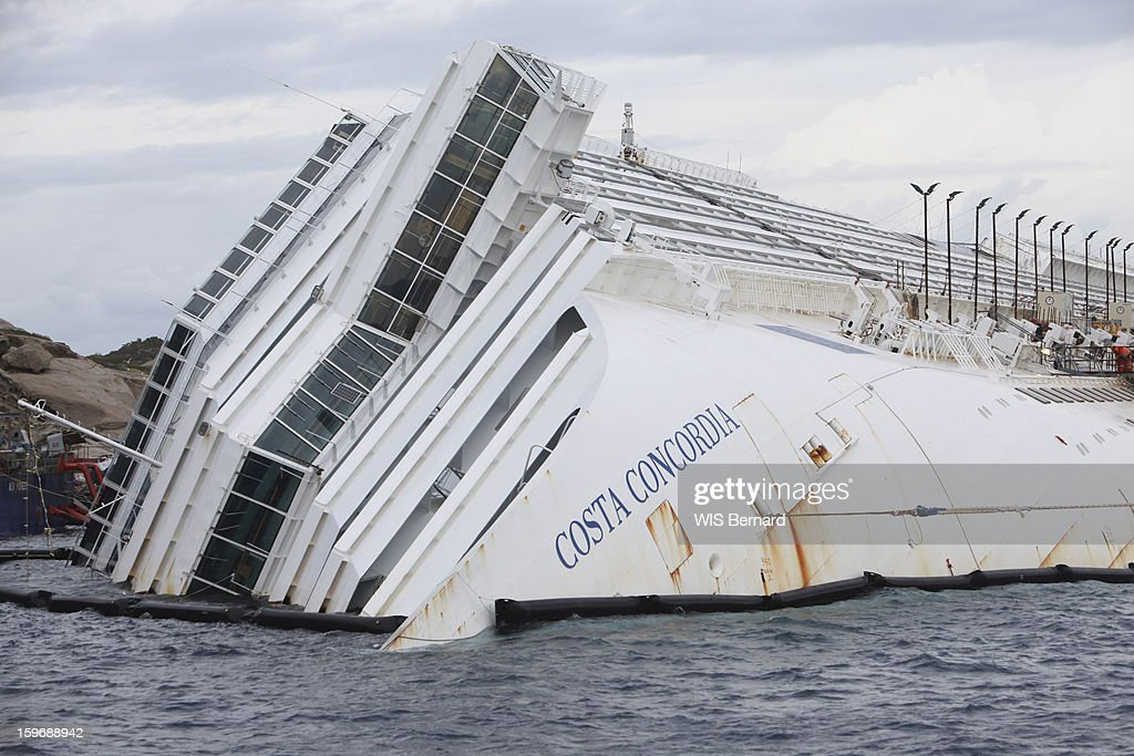 First anniversary of the sinking of the cruise ship Costa Concordia in Italy off the island of Giglio (32 victims) ,the wreck on January 13, 2013.