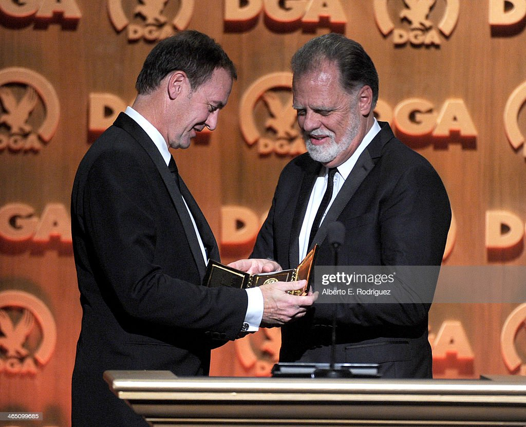 First assistant director Lee Blaine accepts the Frank Capra Award from director Taylor Hackford onstage at the 66th Annual Directors Guild Of America...