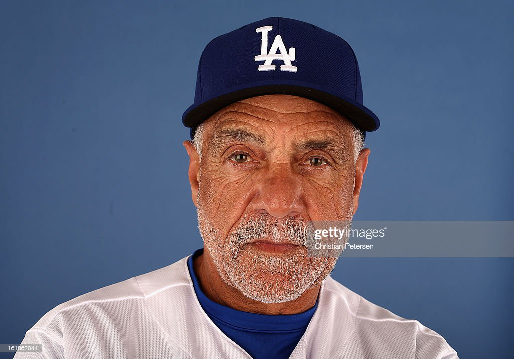 First base coach <a gi-track='captionPersonalityLinkClicked' href=/galleries/search?phrase=Davey+Lopes&family=editorial&specificpeople=213048 ng-click='$event.stopPropagation()'>Davey Lopes</a> of the Los Angeles Dodgers poses for a portrait during spring training photo day at Camelback Ranch on February 17, 2013 in Glendale, Arizona.