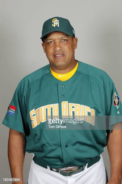 First base coach Neil Adonis of Team South Africa poses for a head shot for the World Baseball Classic Qualifier at Roger Dean Stadium on September...