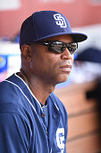 First base coach Tarrik Brock of the San Diego Padres looks on before a baseball game against the Washington Nationals at Nationals Park on July 24...