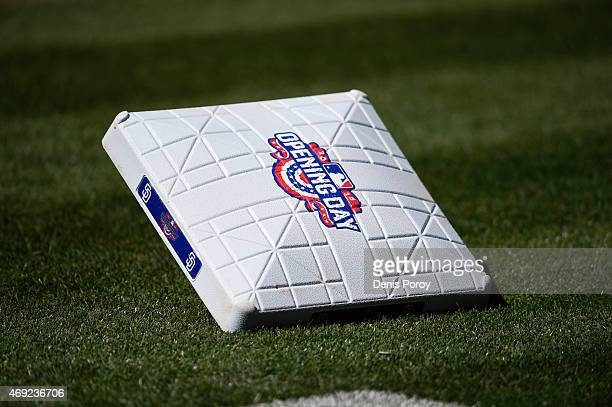 A first base with the Opening Day logo sits on the field before the home opener between San Diego Padres and the San Francisco Giants at Petco Park...