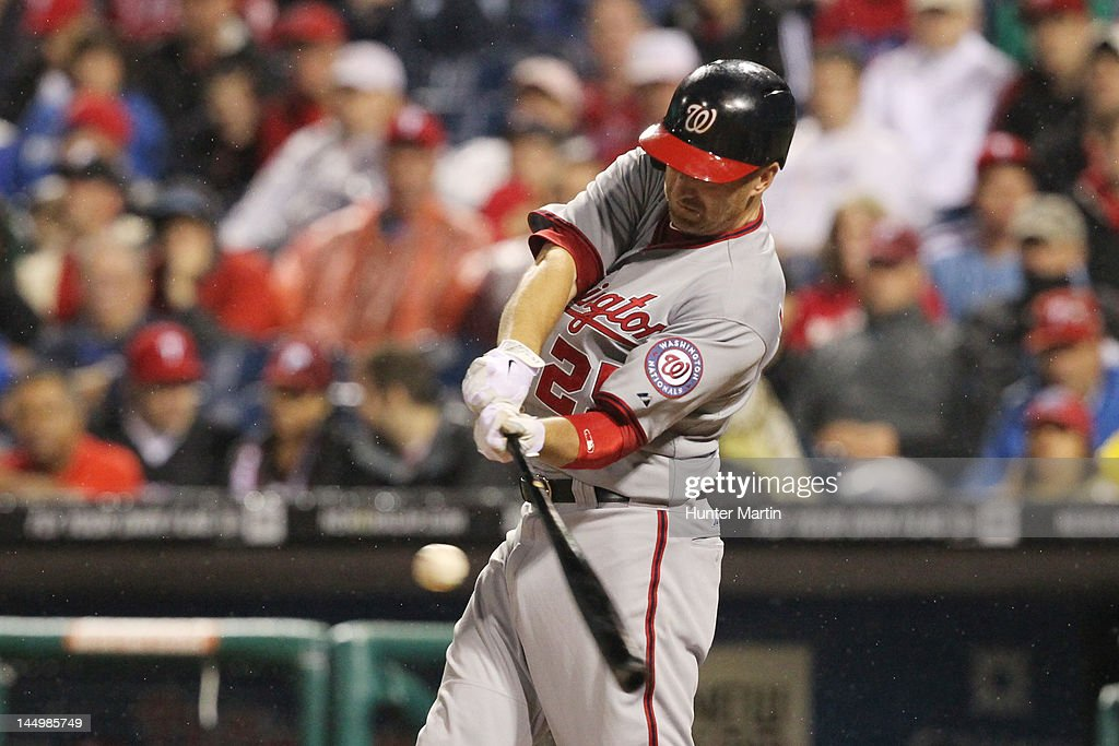 First baseman <a gi-track='captionPersonalityLinkClicked' href=/galleries/search?phrase=Adam+LaRoche&family=editorial&specificpeople=216533 ng-click='$event.stopPropagation()'>Adam LaRoche</a> #25 of the Washington Nationals bats during a game against the Philadelphia Phillies at Citizens Bank Park on May 21, 2012 in Philadelphia, Pennsylvania. The Nationals won 2-1.