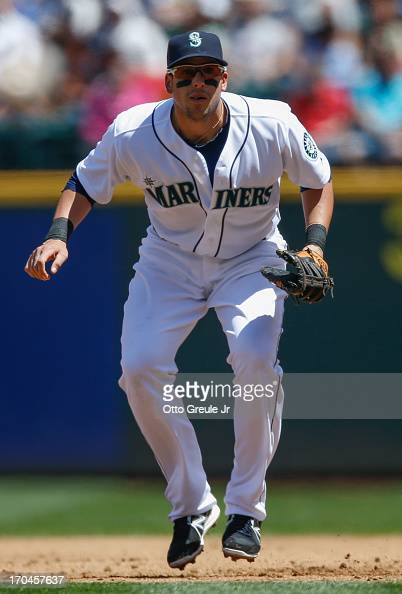 First baseman Alex Liddi of the Seattle Mariners watches the pitch during the game against the New York Yankees at Safeco Field on June 9 2013 in...