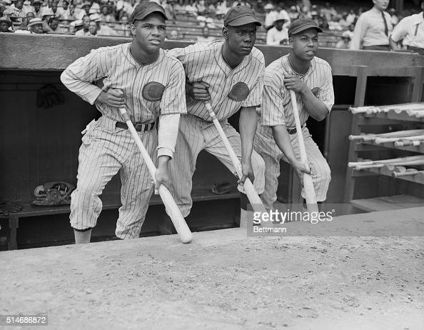 First baseman Art Pennington left fielder Herman Andrews and third baseman Alex Radcliffe of the Negro League's Chicago Giants watch the game as they...