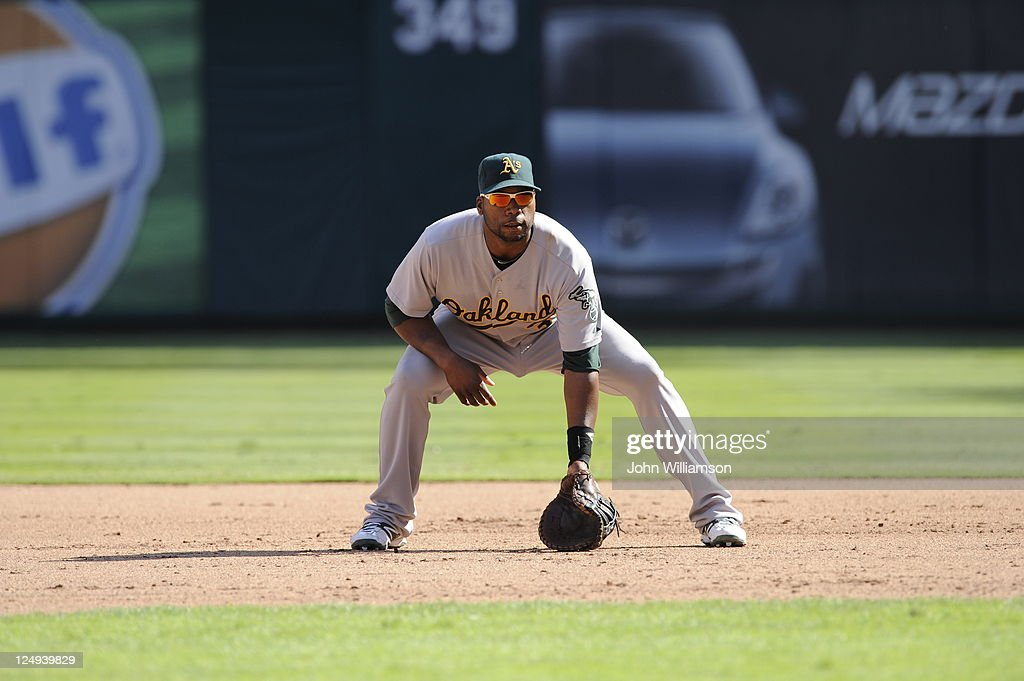 First baseman <a gi-track='captionPersonalityLinkClicked' href=/galleries/search?phrase=Brandon+Allen+-+Baseball+Player&family=editorial&specificpeople=2238262 ng-click='$event.stopPropagation()'>Brandon Allen</a> #31 of the Oakland Athletics looks to home plate for the pitch from his position in the field in the game against the Texas Rangers at Rangers Ballpark on September 10, 2011 in Arlington, Texas. The Oakland Athletics defeated the Texas Rangers 8-7.