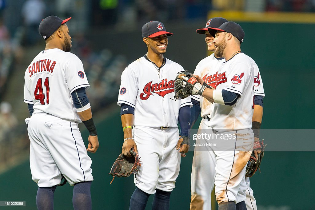 First baseman <a gi-track='captionPersonalityLinkClicked' href=/galleries/search?phrase=Carlos+Santana+-+Baseball+Player&family=editorial&specificpeople=11497843 ng-click='$event.stopPropagation()'>Carlos Santana</a> #41 shortstop <a gi-track='captionPersonalityLinkClicked' href=/galleries/search?phrase=Francisco+Lindor&family=editorial&specificpeople=8126906 ng-click='$event.stopPropagation()'>Francisco Lindor</a> #12 third baseman Giovanny Urshela #39 and second baseman <a gi-track='captionPersonalityLinkClicked' href=/galleries/search?phrase=Jason+Kipnis&family=editorial&specificpeople=5330784 ng-click='$event.stopPropagation()'>Jason Kipnis</a> #22 of the Cleveland Indians talk on the field during a pitching substitution in the sixth inning against the Houston Astros at Progressive Field on July 6, 2015 in Cleveland, Ohio.